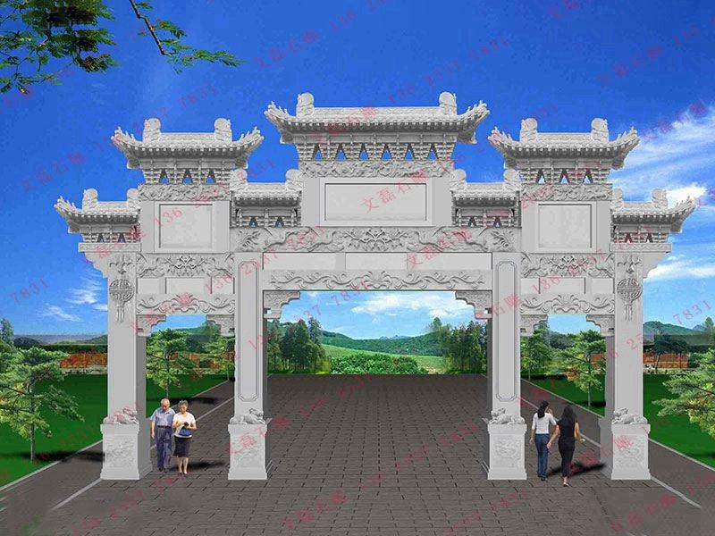 石雕主题公园石门楼设计哪种样式好看